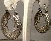 Sterling Silver Filigree Hoop Earrings 1970s Ornate Wirework