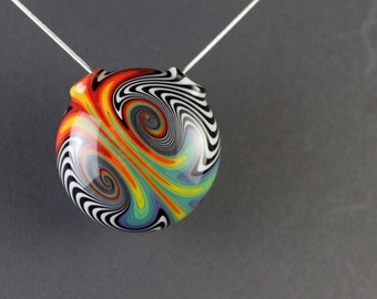 Hollow Glass Wig-wag Pendant, Jailbreak Rainbow, Fully Worked