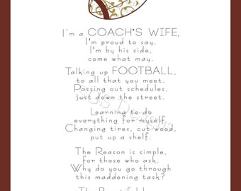 8x10 Football Coach's Wife Poem Digital File (Instant Download)