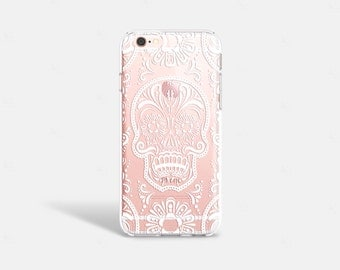 Sugar Skull iPhone 7 Case Clear Halloween Phone Case iPhone 8 Case Clear iPhone 7 Plus Case Clear iPhone X Case Samsung Galaxy S8 Case