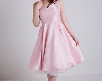 Made to Order, 50s inspired pink satin halter neck swing dress, with a sweetheart neckline, sizes UK 6-24