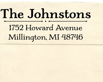 Personalized Return Address Stamp, Custom Address Stamp,  Wedding Gift Rubber Stamp,  Pre-inked Stamp, Millington
