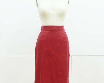Vintage Red Leather Skirt by Firenze