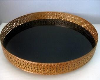 Midcentury Round Black Acrylic Tray Gold Filagree Trim Hollywood Regency