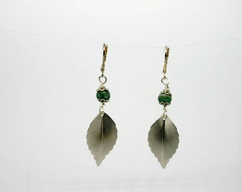 Tree Agate and Silver Leaf Earrings