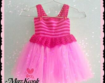 Crocheted Pinky baby tutu dress - free worldwide shipping