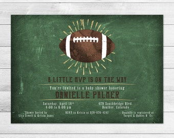 Chalkboard Football Baby Shower Invitation, Boy Digital Printable Invite Vintage, Watercolor, Gold