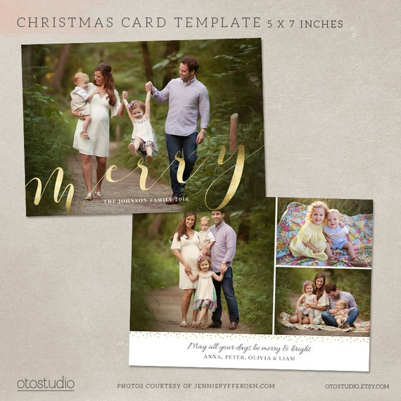 Christmas Card Template - Photoshop template 5x7 flat card - Elegant ...