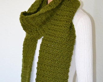 Crochet Fashion Scarf in Olive Green