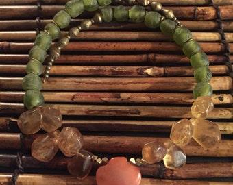 Afrocentric jewelry - Carnelian & Recycled Glass Choker