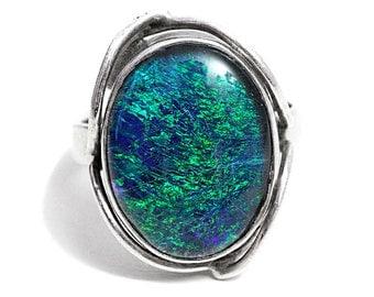 Ring Opal Blue Black Australia Lightning Rich Triplet Matrix Silver