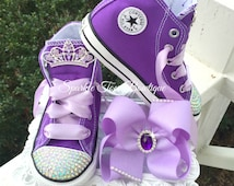 Sofia Amulet Shoes and Hair bow - Sofia the First Amulet Bow Sofia Birthday Sofia Party Pearl Sofia Costume Crystals Purple Converse