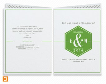 Geometric Printable Wedding Program Booklet with Print-at-Home Thank You Card Print-ready Wedding Dinner Menu and Place cards