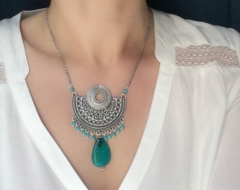 thnic Charm Turquoise  long necklace Boho Jewelryng necklace