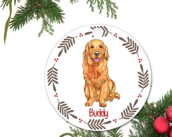 Golden Retriever Ornament, Personalized Christmas Ornament, Golden Retriever Gift, Custom Dog Ornament, Ceramic Ornament, Holiday Gift