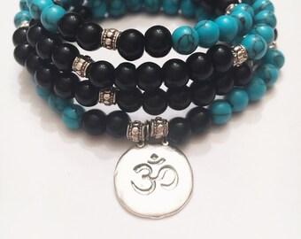 Turquoise/Onyx 108 Mala Bracelet - Mala Necklace - Yoga Mala - Meditation Mala - Wrap Bracelet