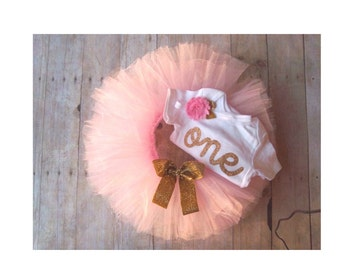 Baby Girl Birthday Outfit - Pink and Gold Glitter First Birthday - One - Princess - Tutu and Headband, LONG or SHORT Sleeve