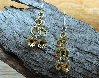 Hardware Jewelry Collection Steampunk Earrings Lock Washer Nut Bronze Silver Gear Mixed Metal Dangle Handmade Repurposed Materials A294