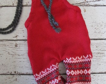 RTS - Newborn Photography Prop - Upcycled Sweater Romper - Christmas Red with Gray accents