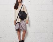 Black Leather Crossbody Bag, Women Messenger Bag, Soft Leather Bag, Soft Leather Tote with Zipper