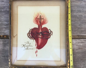 SALE! Sacred Heart Painting. Acrylic? Watercolor? Framed painting. Religious. Antique Vintage Decor Interior design Americana