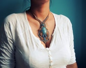 Macrame Necklace, Onyx Celeste Gemstone, Crystal Necklace, Light Blue Beige Macrame, Hand Knotted Jewelry, 100% Money Back