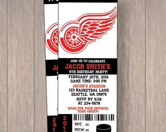 12 Detroit Red Wings Birthday Invitation, Hockey, Ticket Invitation, Sport,Birthday, Birthday Ticket