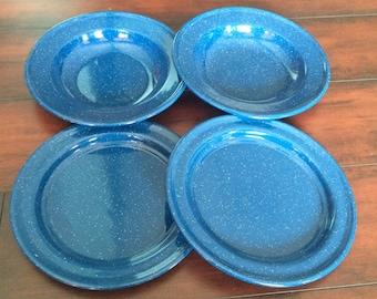 Graniteware Set, Graniteware Bowl Set, 4 Graniteware Plate Set, Blue Graniteware, Graniteware Lot, Camping Dishes, Kitchen Decor