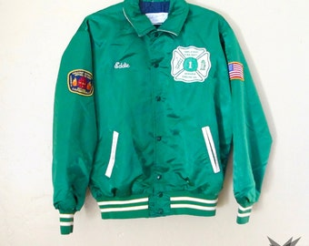 Vintage 1970's Kelly Green Silky Satin Bomber Firefighter Varsity Sports Team Jacket Size Large