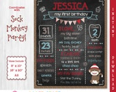 Sock Monkey Printable Chalkboard Sign | 1st 2nd 3rd Birthday | Personalized Poster | Instant Download & Edit in Adobe Reader