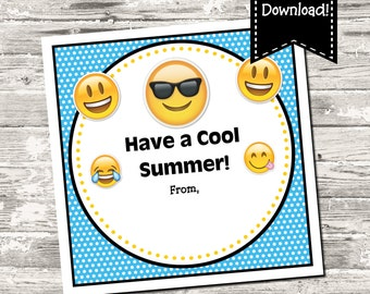 INSTANT DOWNLOAD Emoji Have A Cool Summer End of School Year Square Tag Digital Printable