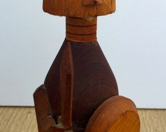 Vintage Folk Art Viking - Hand Made - Teak - Rare