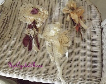 Lot of 3 Hand Made Signature Tattered Rose's by UpCycledRose Shabby Couture Wearable Art