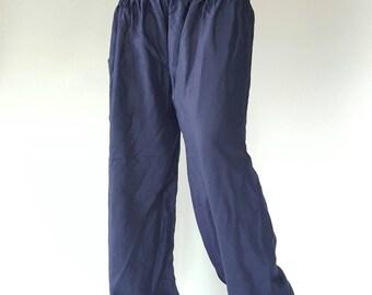 SM0007 Navy gypsy pants rayon pants,aladdin pants maxi pants boho pants