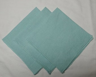 Set of 3, 1960s Vintage Aqua Linen Lunch Napkins with Bound Borders, 11 x 11 Inches, Very Pretty for Tea, Luncheon, Bridge, All Linen