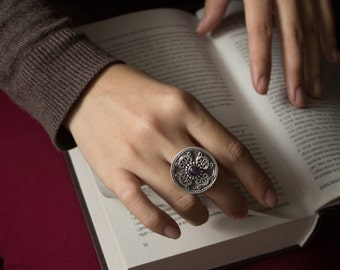 Amethyst Silver Ring, Art deco silver ring, Art Nouveau silver ring, silver bohemian ring, silver ethnic jewelry, Silver Rings Women