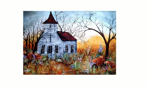 """Giclee Fine Art Print By Douglas Wyoming Artist Joyce Lee  """" The Old Country Church """""""