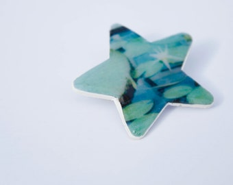 SALE Photo Brooch - Lily Pads