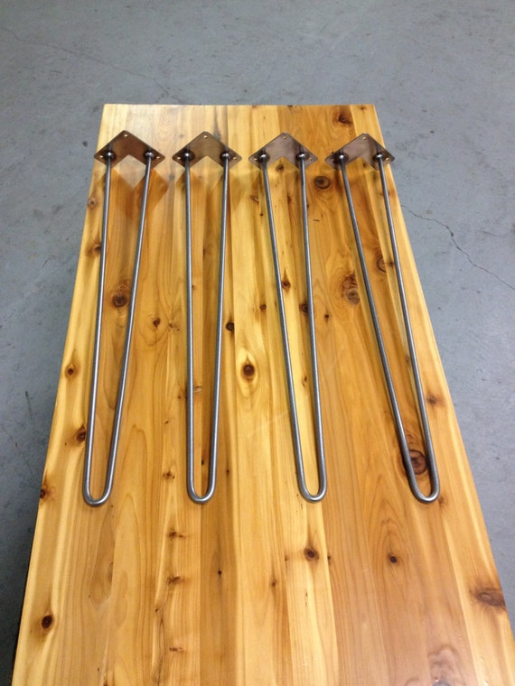Hairpin legs set of 4 clear coated and ready to attach for Attaching hairpin legs