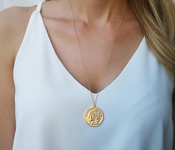 Gold long necklace gold coin necklace coin pendant necklace like this item aloadofball Image collections