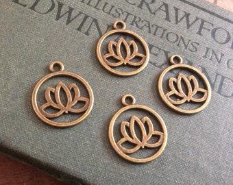4x Lotus Pendant Charms, Antique Brass Necklace C344