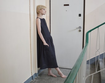 Oversize Sleeveless Linen Dress
