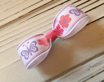 Pink & Purple Butterfly Daisy Flower Flat Hair Bow French Barrette Clip