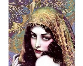 Gypsy vintage goddess, digital print, modern art, digital art, art deco, 1920 s print, vintage print, fine art, home decor, portrait