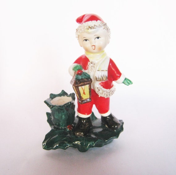 Singing Carolers Candleholders Figurines Vintage By: Vintage Porcelain Christmas Boy Candle By BrilbunnySelections
