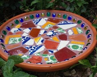 Mexican Tile Birdbath/drink tray