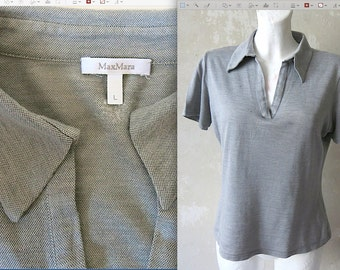 MAX MARA vtg SILK super soft polo shirt sz L /fits S-L tho
