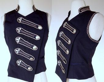 1990s vest, navy blue rhinestone embellished novelty vest, XS