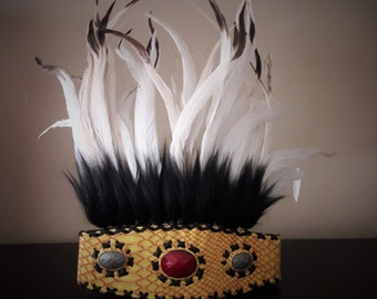 Indian Style headband with black fur and white feathers