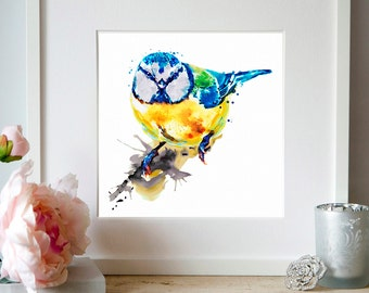Tiny Colorful Bird Watercolor painting Wall art Bird art Aquarelle Bird decor Printable art Bird poster Wildlife Illustration Birds Cute art